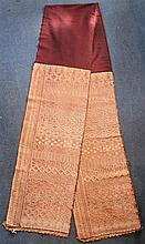An Indonesian ceremonial silk and gilt metal thread songket cloth, possibly Sumba, 20th century, 264cm.