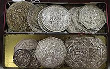 Twelve pairs of Malaysian and Chinese Straits metal pillow ends, late 19th / early 20th century,