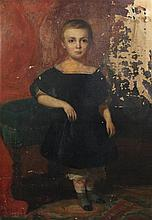Victorian School Full length portrait of a child, 44 x 31.5in., distressed