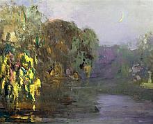 Pierre Amedee Marcel-Beronneau (1869-1937) Ethereal landscape under moonlight, 25 x 31.5in.