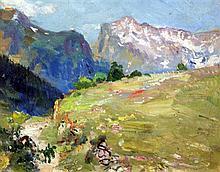 Pierre-Amedée Marcel-Beronneau (1869-1937) Alpine landscape, 7.5 x 9.5in.