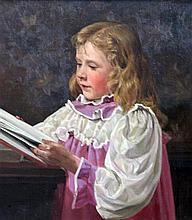 Dorothy Fitchew (fl. 1910-1922) - oil on canvas, Portrait of a young choir girl, with sketch books, etc