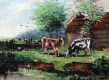 Cornelis Verschuur (Dutch, 1888-1966) Cattle in a meadow, 12 x 16in.