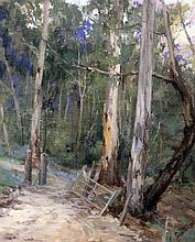 Clara Southern (Australian, 1861-1940) Field gate and trees, 12 x 10in.