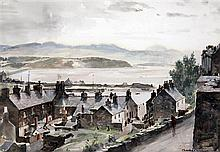 Charles Cundall (1890-1971) Portmadoc, North Wales, 10.5 x 15in.