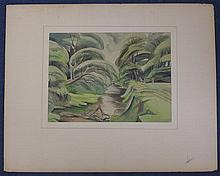 Olive F. Openshaw (fl.1942-1950) River landscapes and woodland scenes, largest 14.5 x 10.5in., unframed