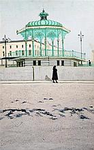 Richard Beer (1928-) Woman passing a band stand at Brighton, 30 x 20in., unframed