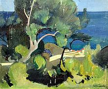William Oliphant Hutchison (1889-1970) Meditteranean coastal landscape, 15 x 18.25in., unframed