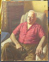 English School (c.1950) Portrait of Ernest Hoyle MBE, 36 x 28in., unframed.