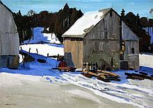 Anthony Law (Canadian, 1916-1996) A barn in winter, 9.5 x 13.5in.