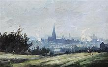 Roy Petley (1951-) Landscape with church steeple, 10.5 x 16.5in.