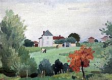 Adolphe Valette (1876-1942) Chateau Bleu, La Combe, Blace, 9 x 12.5in.