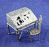 A late 19th/early 20th century Hanau? silver miniature bureau, 2.25in.