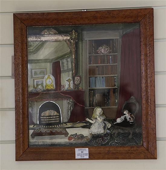 A pair of Victorian collage pictures, 18 x 17in.