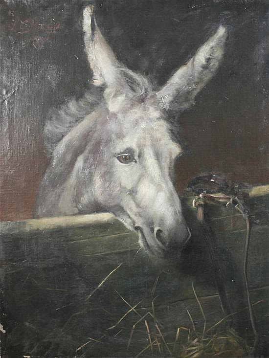 Miss L C Mitchell (Exh. 1899-1908) Donkey and manger, 38 x 29in.
