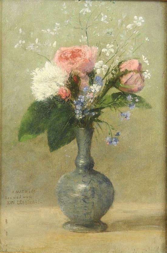 Jean Desbrosses (1835-1906) French Still life of flowers in a vase 9.5 x 6in.