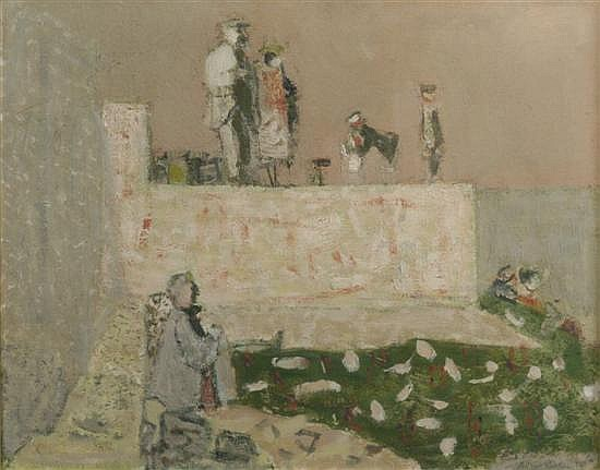 Brian Robb (1913-79) Figures on the shore 16 x 20in.