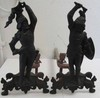 Pr. 19th C. Figural bronze andirons of soldiers