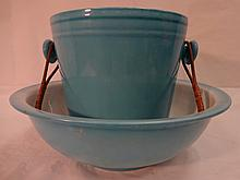 Tiffany Blue Ceramic Wine Bucket and Ice Bowl