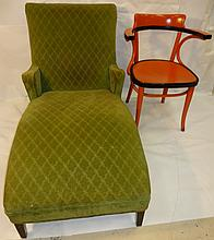 Lot/Upholstered Chaise+Painted Wood Chair