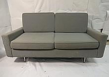 Mid-Century Modern Grey Fabric Loveseat