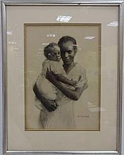 Charcoal Drawing of Mother and Child, HP Kimball