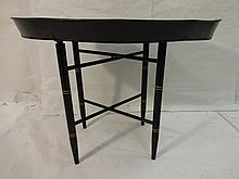 Antique Metal Painted Tray Table with Custom Base
