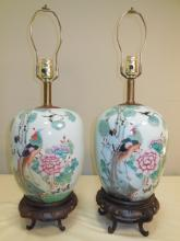 Pair of Polychrome w/Carved Base Table Lamps