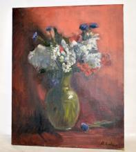 Still Life w/Vase & Flowers- D. Lahen- Oil/Canvas