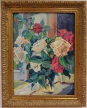 Still Life w/Vase & Flowers- Idkowiak- Oil/Canvas