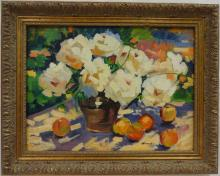 Still Life w/Flowers+Apples- Idkowiak- Oil/Canvas