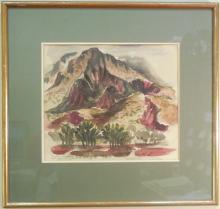 Lee Hunt Watercolor Inscribed 1976