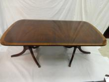 Banded Top Mahogany Double Pedestal Dining Table
