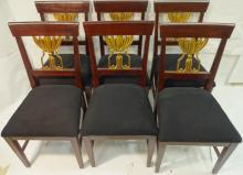 6 Art Deco Gilt Mahogany Dining Chairs w/Fabric