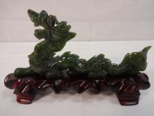 Chinese Carved Jade Dragon on Wood Base