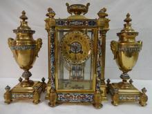 Tiffany-Style Bronze Mantle Clock w/Crystal+Enamel