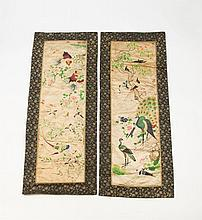 A PAIR OF QING DYNASTY SILK HANGINGS,  c.1860, Xianfeng period, one depicting a peacock, exotic