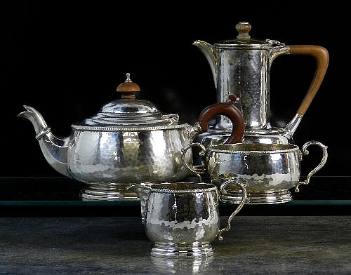 An Art Deco three piece silver tea service with