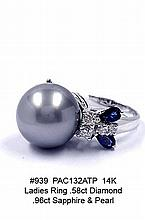 14K Ladies Ring .58ct Diamond .96ct Sapphire & Pearl