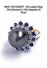 14K Ladies Ring .74ct Diamond 1.43ct Sapphire & Pearl