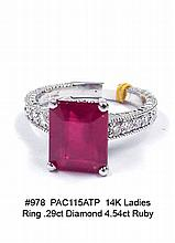 14K Ladies Ring .29ct Diamond 4.54ct Ruby