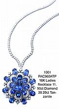 18K Ladies Necklace 11.90ct Diamond 28.20ct Tanzanite