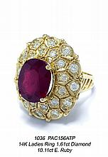 14K Ladies Ring 1.61ct Diamond 10.11ct E. Ruby