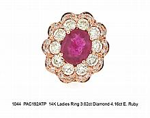 14K Ladies Ring 3.02ct Diamond 4.16ct E. Ruby