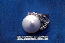 14K Ladies' Ring  1.33ct. Diamond and SS Pearl 15mm
