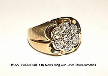 14K Men's Ring with .93ct. Total Diamonds