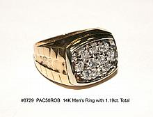 14K Men's Ring with 1.19ct. Total Diamonds