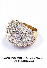 18K Ladies Cluster Ring 14.29ct Diamond