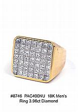 18K Men's Ring 3.96ct Diamond