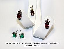 14K Ladies (2)sets of Ruby and Emerald with Diamond Earrings